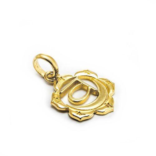 Gold Anhänger Sakral Chakra 18 Karat vergoldet aus Sterlingsilber