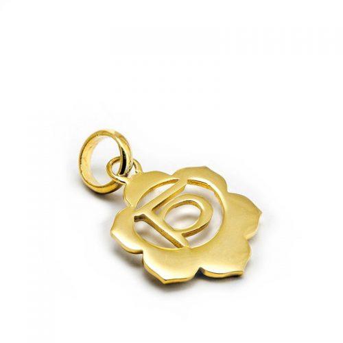 Gold Anhänger Sakral Chakra 18 Karat vergoldet aus Sterlingsilber | Rückseite | Yoga Schmuck | Chakra Anhänger | Spiritueller Schmuck