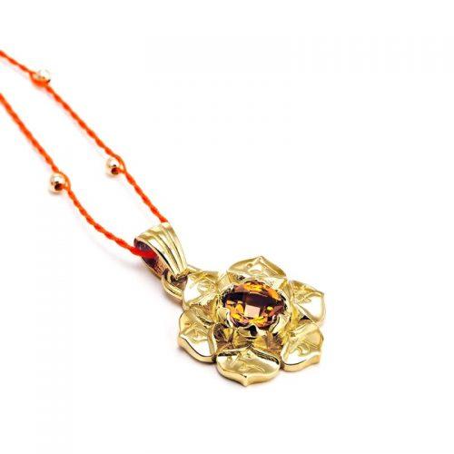 Gold Anhänger Sakral Chakra 18 Karat vergoldet aus Sterlingsilber mit hochwertigen Zitrin | Chakra Anhänger | Yoga Schmuck | Spiritueller Anhänger | Spiritueller Schmuck