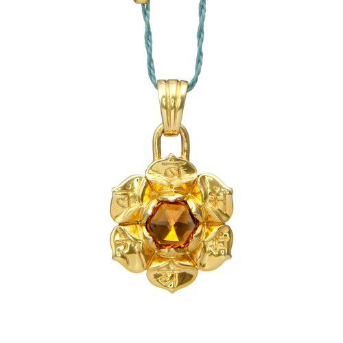 Sakral Chakra Anhänger | Gold Anhänger | mit hochwertigem, orangem Citrin| Yoga Schmuck | Sterlingsilber in edler 18 Karat vergoldeter Ausführung