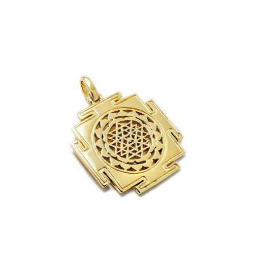 Gold Anhänger Sri Yantra aus Sterlingsilber 18 Karat vergoldet
