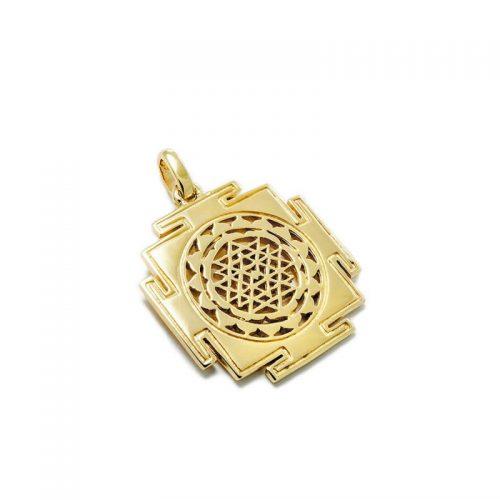 Gold Anhänger Sri Yantra aus Sterlingsilber 18 Karat vergoldet | Sri Yantra Anhänger | Yoga Schmuck | Spiritueller Schmuck