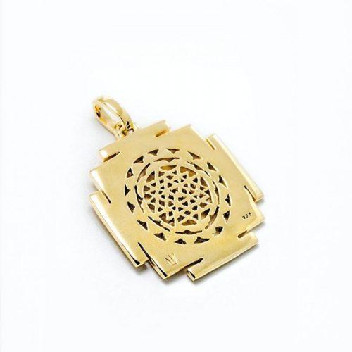Gold Anhänger Sri Yantra aus Sterlingsilber 18 Karat vergoldet | Rückseite | Sri Yantra Anhänger | Yoga Schmuck | Spiritueller Anhänger | Spiritueller Schmuck