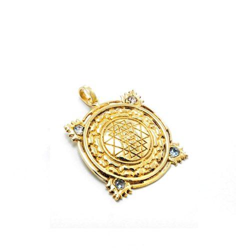 Gold Anhänger Sri Yantra aus Sterlingsilber 18 Karat vergoldet mit Aquamarin