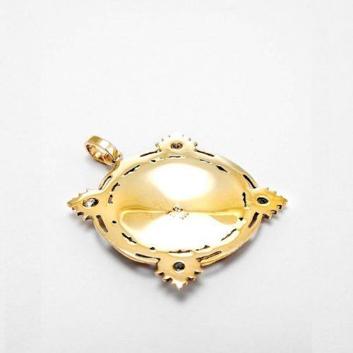 Gold Anhänger Sri Yantra aus Sterlingsilber 18 Karat vergoldet mit Aquamarin | Rückseite | Yoga Schmuck | Spiritueller Schmuck