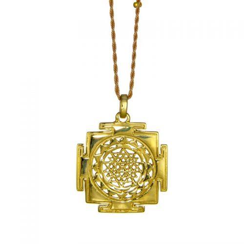 Gold Anhänger | Sri Yantra |Oberfläche glatt | Yoga Schmuck | in edler 18 Karat vergoldeter Ausführung