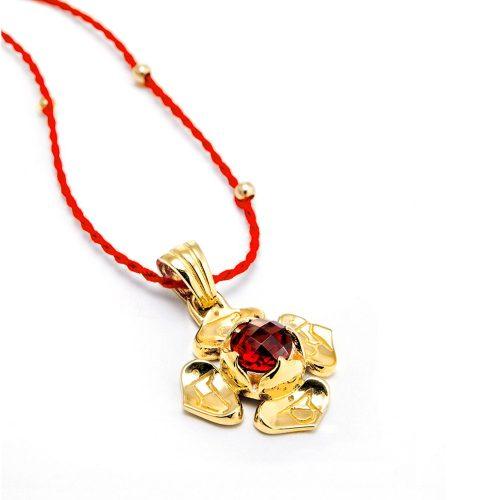 Gold Anhänger Wurzel Chakra 18karat vergoldet aus Sterlingsilber mit hochwertigen Granat