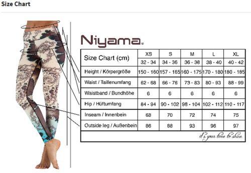 Yoga Pants Niyama Größentabelle | Yoga Hose | Yoga Leggings