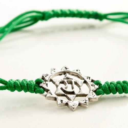 Chakra Armband | mit Herz Chakra | aus Sterling Silber | Yoga Schmuck