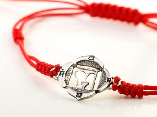 Chakra Armband | Wurzel Chakra | aus Sterling Silber | Yoga Schmuck | Spiritueller Schmuck | Esoterischer Schmuck | Yoga Stilvoll