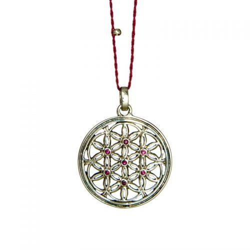 Blume des Lebens Anhänger | Silber Anhänger | mit sieben Rubinen | Blume des lebens Schmuck | aus Sterlingsilber gefertigt