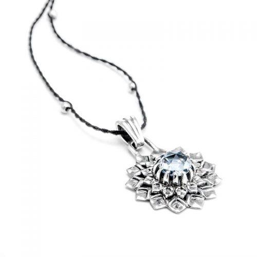 Silber Anhänger Kronen Chakra aus Sterlingsilber mit hochwertigen Bergkritall | Spiritueller Schmuck | Yoga Schmuck | Chakra Anhänger | Spirituelle Anhänger