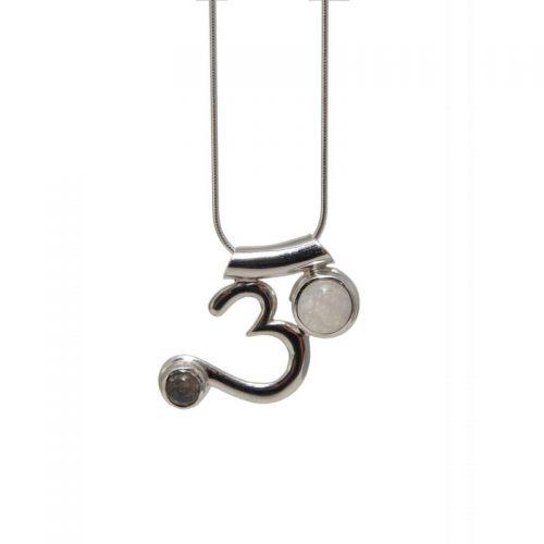 Om Anhänger mit Mondstein und Labradorit| Silber Anhänger | Halskette | Schlangenkette Silber | Halskette Silber | Yoga Schmuck
