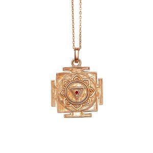 Gold Anhänger | Kali Yantra | 18 Karat Rosegold | 925er Sterling Silber | mit Rubin |