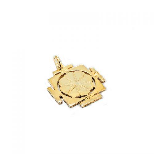 Gold Anhänger | Kali Yantra | 18 Karat vergoldeter Ausführung | 925er Sterling Silber | Rückansicht