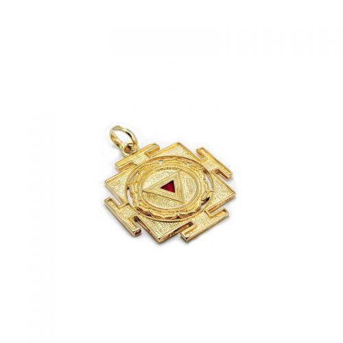 Gold Anhänger | Kali Yantra | 18 Karat vergoldeter Ausführung | 925er Sterling Silber