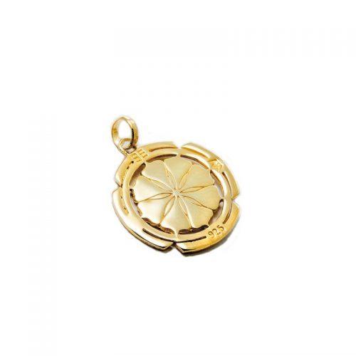 Gold Anhänger | Kali Yantra rund | 18 karat vergoldeter Ausführung | aus 925er Sterling Silber | Rückansicht