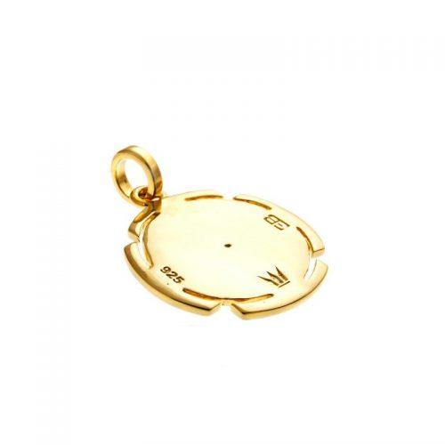 Gold Anhänger | Kali Yantra rund | 18 karat vergoldeter Ausführung | aus 925er Sterling Silber | mit Rubin | Rückansicht