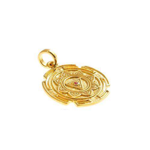 Gold Anhänger | Kali Yantra rund | 18 karat vergoldeter Ausführung | aus 925er Sterling Silber | mit Rubin
