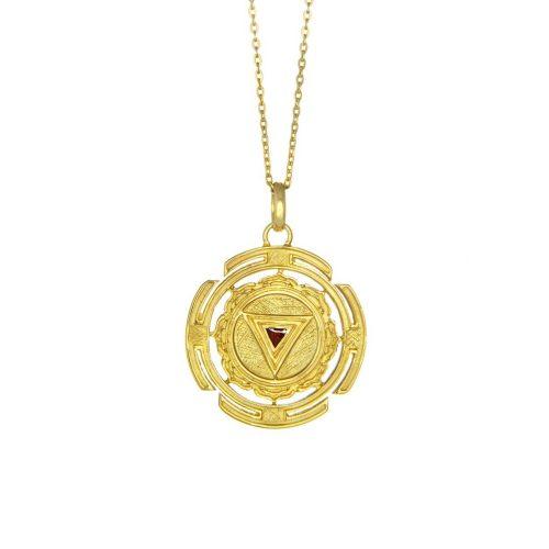 Gold Anhänger | Kali Yantra rund | 18 karat vergoldeter Ausführung | aus 925er Sterling Silber