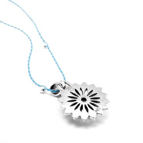Silber Anhänger Hals Chakra aus Sterlingsilber mit blauem Topas | Rückseite | Chakra Anhänger