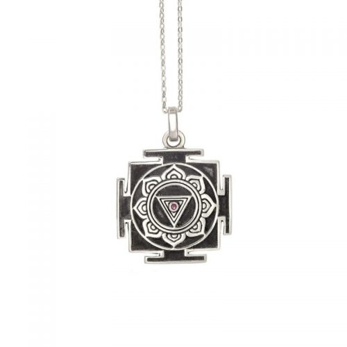 Silber Anhänger | Kali Mula Yantra | 925er Sterling Silber | mit Rubin