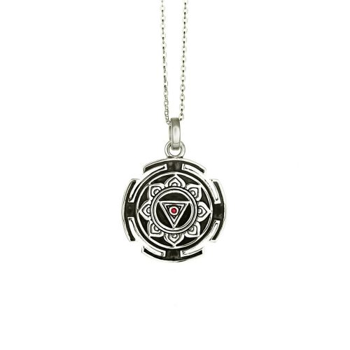 Silber Anhänger | Kali Mula Yantra | Rund | 925er Sterling Silber | mit Rubin |