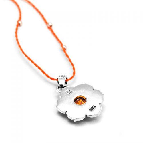 Silber Anhänger Sakral Chakra aus Sterlingsilber mit hochwertigen Zitrin | Rückseite | Chakra Anhänger | Yoga Schmuck | Chakra Schmuck