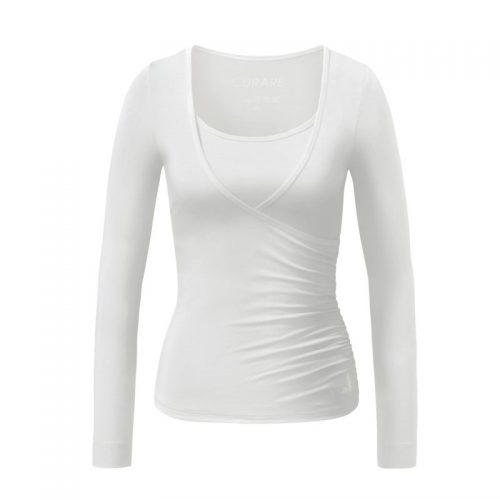 Yoga Shirt | Wrap Shirt | von Curare | white | Yoga T-Shirt | Yogabekleidung | Yoga Kleidung Damen