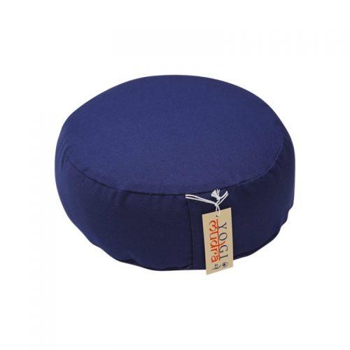Basic Meditationskissen | Yogakissen | Blau, rund mit Kapok Füllung