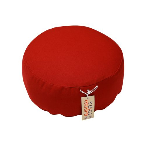 Basic Meditationskissen | Yogakissen | Rot, rund mit Kapok Füllung