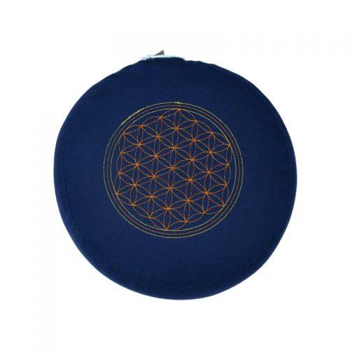 Meditationskissen bestickt mit Blume des Lebens und Kapok Füllung | Blau | 15X29 cm
