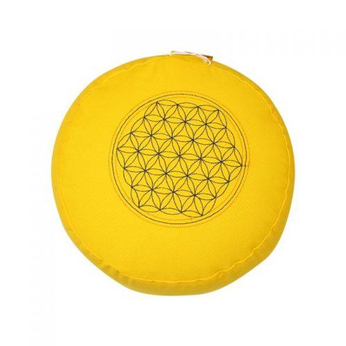 Meditationskissen bestickt mit Blume des Lebens und Kapok Füllung | Gelb | 15X29 cm