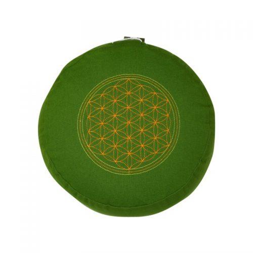 Meditationskissen bestickt mit Blume des Lebens und Kapok Füllung | Grün | 15X29 cm
