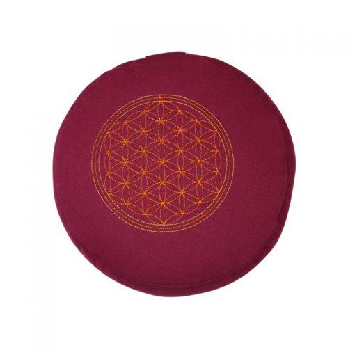 Meditationskissen bestickt mit Blume des Lebens und Kapok Füllung | Lila | 15X29 cm