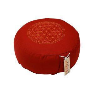 Meditationskissen bestickt mit Blume des Lebens und Kapok Füllung Rot-15X29 cm