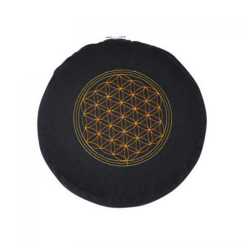 Meditationskissen bestickt mit Blume des Lebens und Kapok Füllung | Schwarz | 15X29 cm