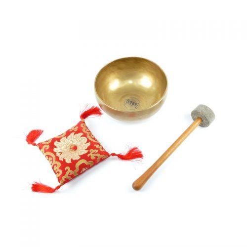 Tibetische Klangschalen von 800g - 900g, matt mit Klangschalenkissen und Klöppel