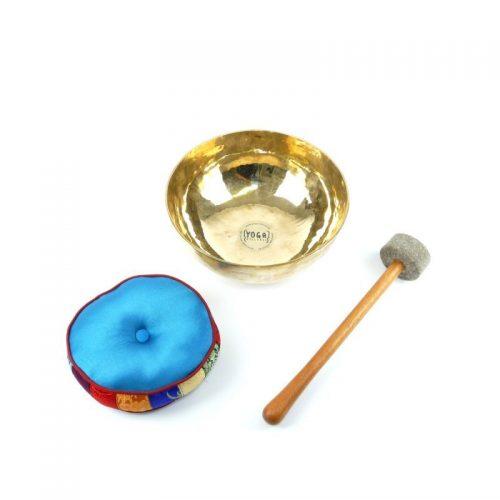Tibetische Klangschalen von 1100g - 1200g, glänzend und dünnwandig mit Klangschalenkissen und Klöppel