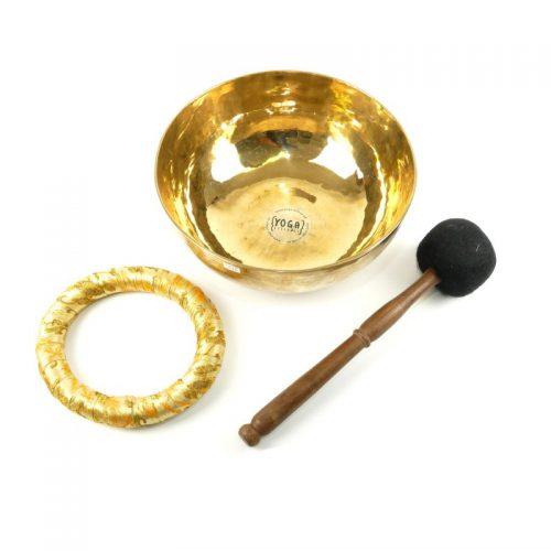 Tibetische Klangschalen von 1400g - 1500g, glänzend und dünnwandig mit Klangschalenkissen und Klöppel