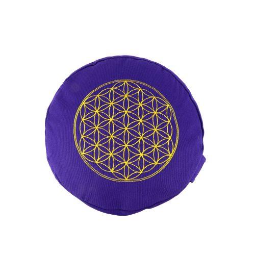 Yogakissen | Meditationskissen bestickt mit Blume des Lebens - Lila