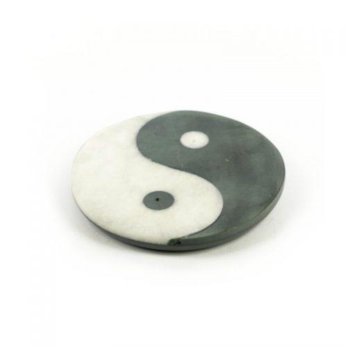 Räucherstäbchenhalter - Ying Yang aus Marmor 10 cm | Räucherstäbchenhalter kaufen | Räucherzubehör