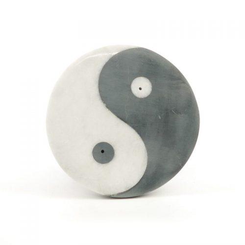 Räucherstäbchenhalter - Ying Yang aus Marmor 10 cm | Raäucherstäbchenhalter kaufen | Räucherzubehör