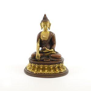 Buddha Figur Messing | Kupfer platiniert 12 cm