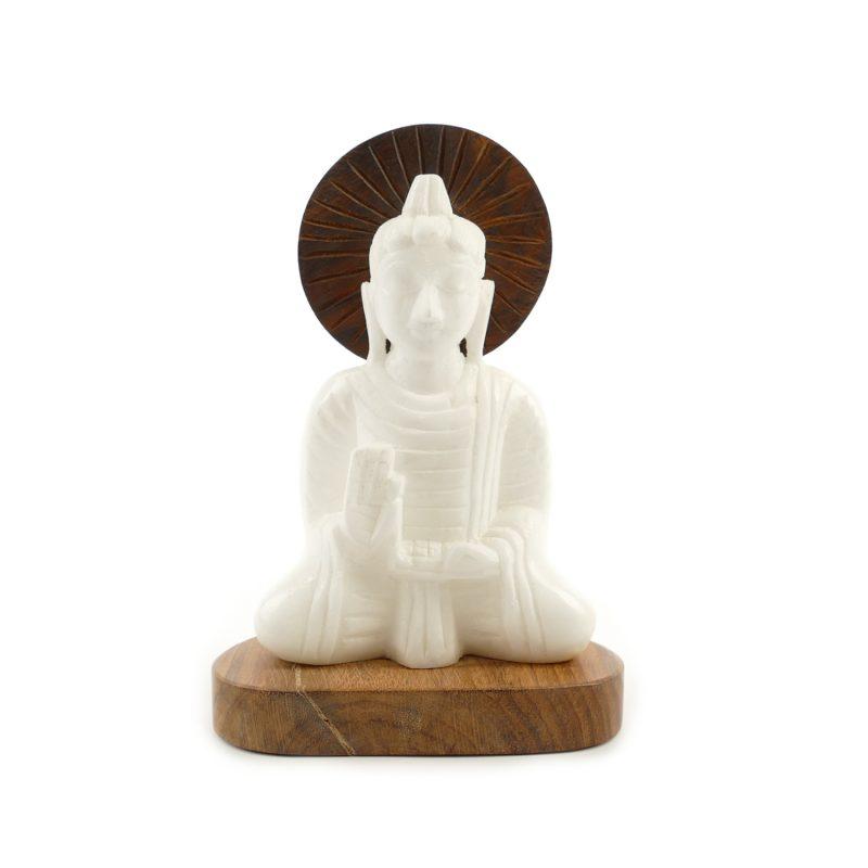 Buddha figur alabaster holz 16 cm yoga stilvoll buddha for Buddha figur holz