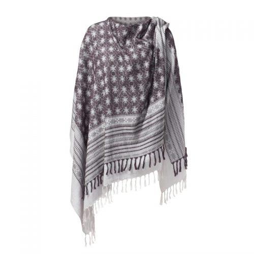 Poncho von Curare - Lavendel-dark aubergine | Poncho kaufen | Yoga Kleidung | Yogabekleidung | Yoga Kleidung Damen