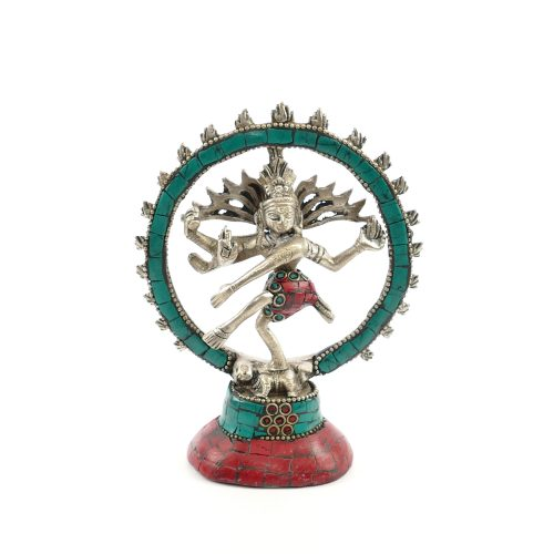 Shiva Statue Messing versilbert mit Stein 14 cm
