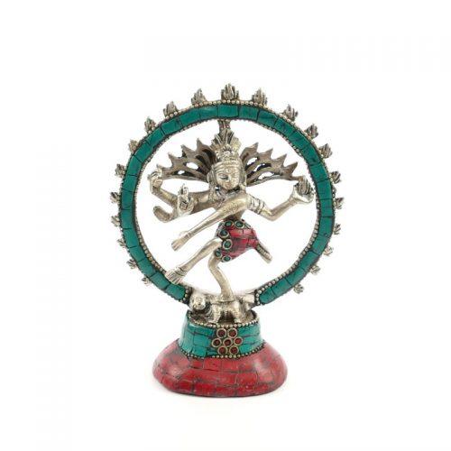 Shiva Statue Messing versilbert mit Stein 14 cm | Shiva kaufen | Shiva Figur | Shiva Statue