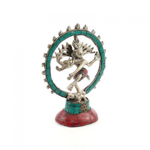 Shiva Statue Messing versilbert mit Stein 14 cm | Shiva | Shiva Figur | Shiva Statue kaufen | Shiva kaufen