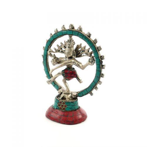 Shiva Statue Messing versilbert mit Stein 14 cm | Shiva | Shiva Figur | Shiva Statue